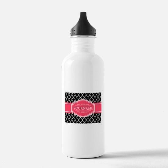 Black White Moroccan H Water Bottle