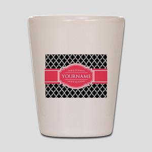 Black White Moroccan Hot Pink Name Mono Shot Glass