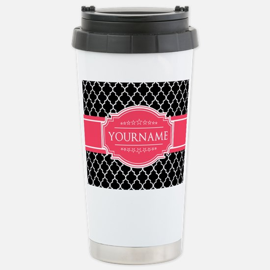 Black White Moroccan Ho Stainless Steel Travel Mug