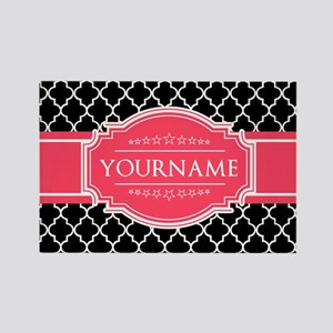 Black White Moroccan Hot Pink Nam Rectangle Magnet