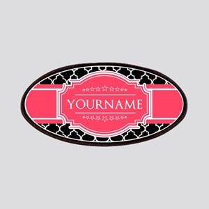 Black White Moroccan Hot Pink Name Monogram Patch