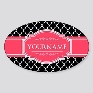 Black White Moroccan Hot Pink Name Sticker (Oval)