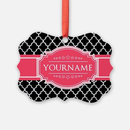 Black White Moroccan Hot Pink Nam Ornament