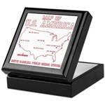 south carolina map of U.S. America Keepsake Box
