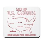 south carolina map of U.S. America Mousepad
