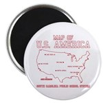 south carolina map of U.S. America Magnet