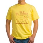 south carolina map of U.S. America Yellow T-Shirt