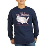south carolina map of U.S. America Long Sleeve Dar