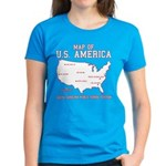south carolina map of U.S. America Women's Dark T-