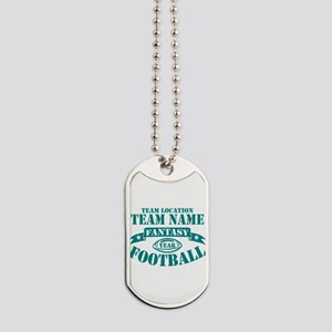 PERSONALIZED FANTASY FOOTBALL TEAL Dog Tags