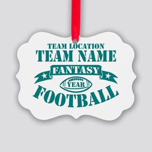 PERSONALIZED FANTASY FOOTBALL TEAL Ornament