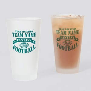 PERSONALIZED FANTASY FOOTBALL TEAL Drinking Glass