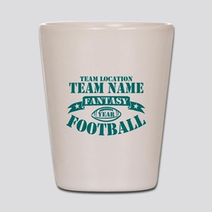 PERSONALIZED FANTASY FOOTBALL TEAL Shot Glass