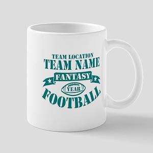 PERSONALIZED FANTASY FOOTBALL TEAL Mugs