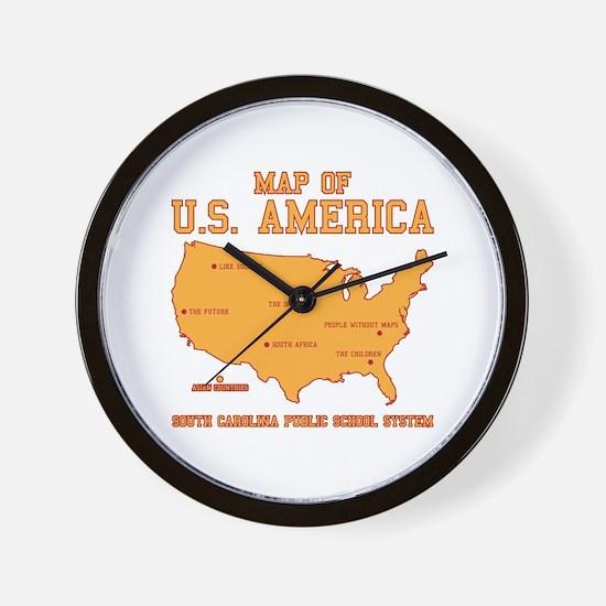 south carolina map of U.S. America Wall Clock