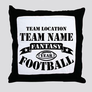 Your Team Fantasy Football Black Throw Pillow