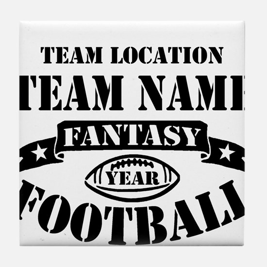Your Team Fantasy Football Black Tile Coaster