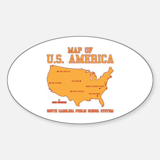 south carolina map of U.S. America Oval Decal