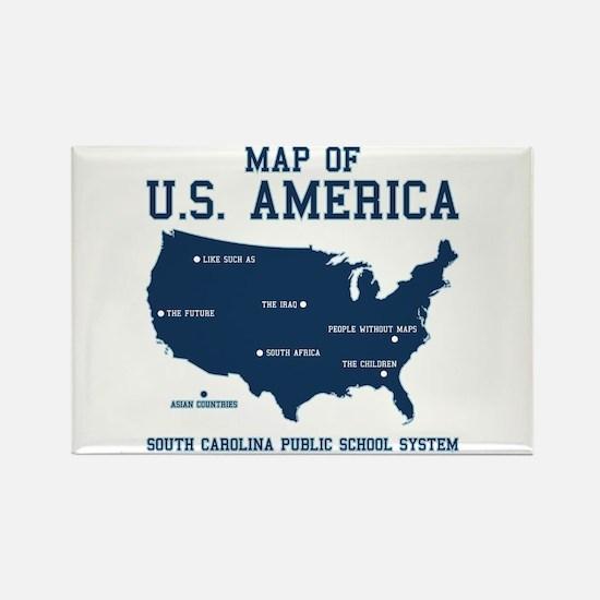 south carolina map of U.S. America Rectangle Magne