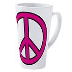 Pink Peace Sign 17 Oz Latte Mug