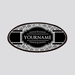 Blac and Gray Moroccan Quatrefoil Personaliz Patch