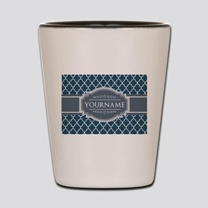 Moroccan Lattice Navy Blue Gray White P Shot Glass