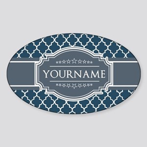 Moroccan Lattice Navy Blue Gray Whi Sticker (Oval)