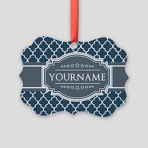 Moroccan Lattice Navy Blue Gray W Picture Ornament