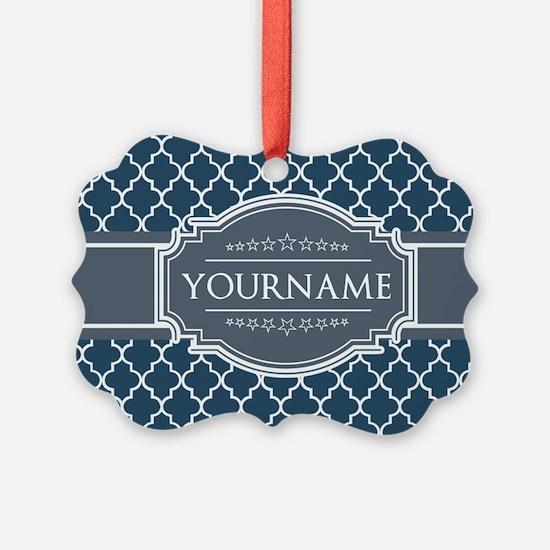 Moroccan Lattice Navy Blue Gray W Ornament