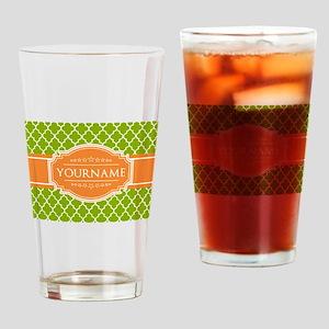 Green Quatrefoil Orange Personalize Drinking Glass