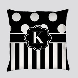 Black White Dots Stripe Monogram Everyday Pillow