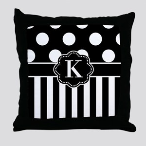 Black White Dots Stripe Monogram Throw Pillow