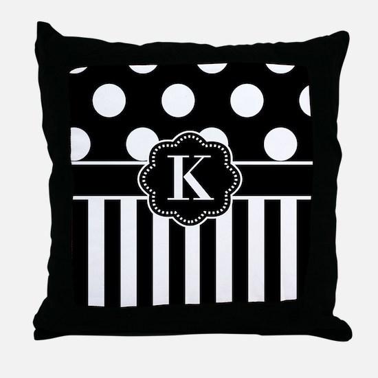 Black White Dots Stripe Monogram Throw Pillow