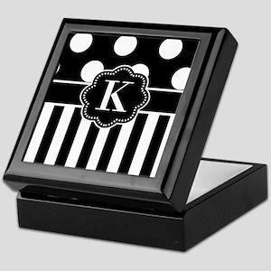 Black White Dots Stripe Monogram Keepsake Box
