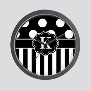 Black White Dots Stripe Monogram Wall Clock