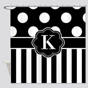 Black White Dots Stripe Monogram Shower Curtain