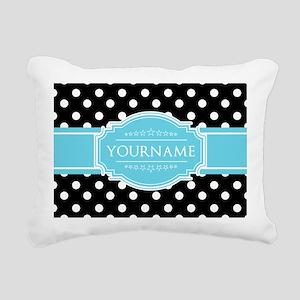 Black and White Dots Aqu Rectangular Canvas Pillow