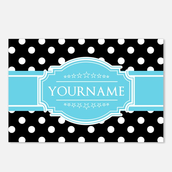 Black and White Dots Aqua Postcards (Package of 8)