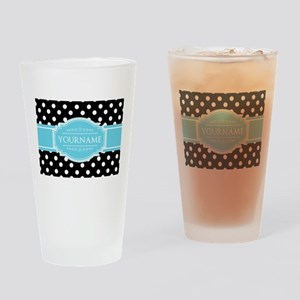 Black and White Dots Aqua Personali Drinking Glass