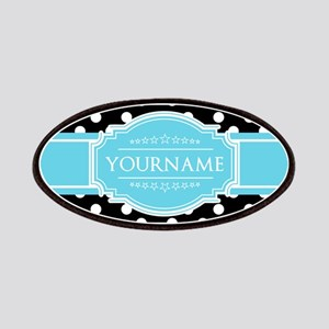 Black and White Dots Aqua Personalized Name Patch