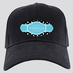 Black and White Dots Aqua Personalized N Black Cap