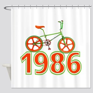 Retro 1986 BMX Bike Shower Curtain