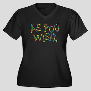 As You Wish Women's Plus Size V-Neck Dark T-Shirt