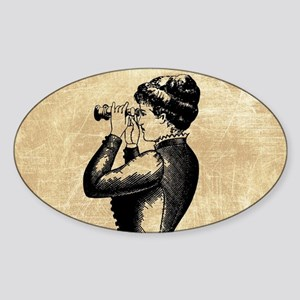 Vintage Woman With Binoculars Sticker