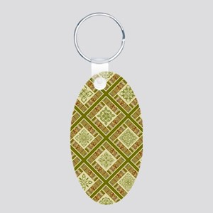 PATCHWORK PERFECTION Aluminum Oval Keychain