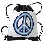 Blue Peace Symbol Drawstring Bag