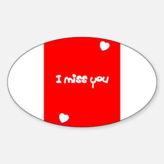 I Miss You Heart Valentines Day Red Decal