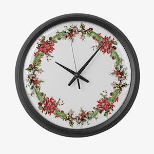 Holiday wreath Large Wall Clock