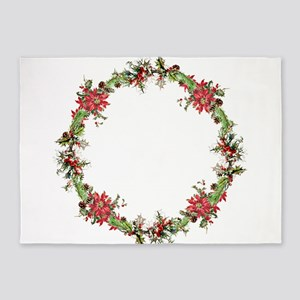 Holiday wreath 5'x7'Area Rug