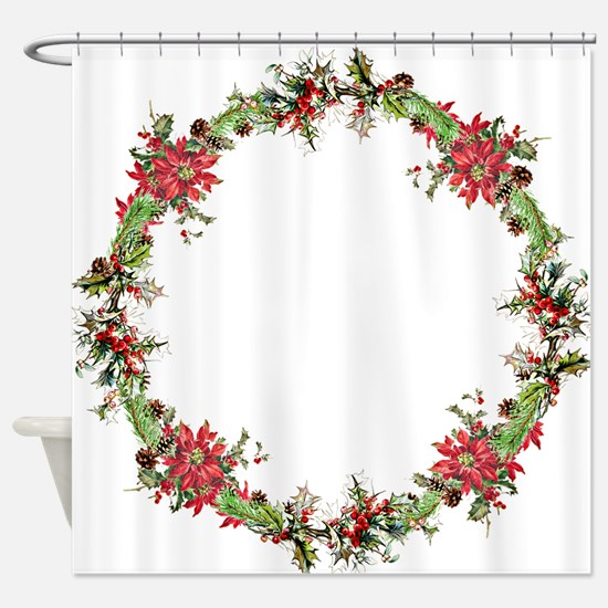 Holiday wreath Shower Curtain